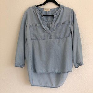 2/$25 Anthro Cloth and Stone Chambray Tunic Top S